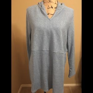 J.Jill Blue Large Petite Hooded Sweatshirt  NWT
